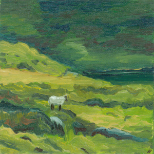 Sheep by Lake